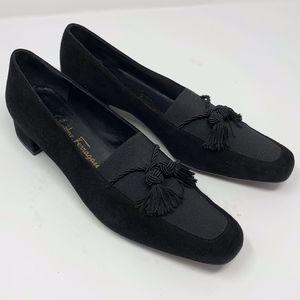 Vtg Salvatore Ferragamo Black Suede Tassel Shoes 7